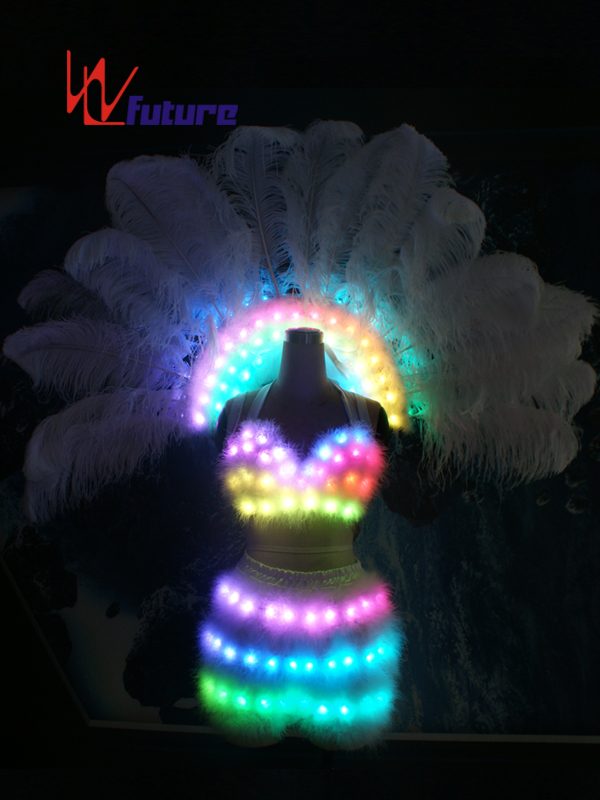 Custom Sexy LED Light Bra & Pants & Ostrich Feathers For Dance Show WL-0187 Featured Image