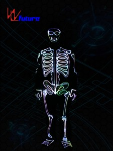 Glowing skeleton costume,LED light up  halloween clothing WL-0146