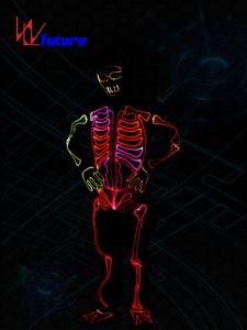 Glowing skeleton costume,LED light up  halloween clothing WL-0146