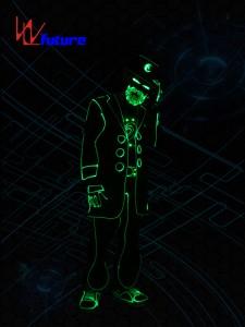 Wireless control LED & fiber optic  tron costumes with beard mask WL-0195